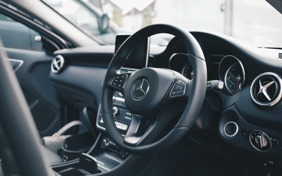 inside shot of a mercedes benz car - average car insurance rates in Ontario for 2021