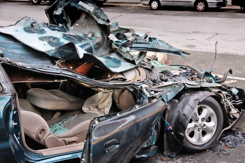 image of a totalled car - total loss claim
